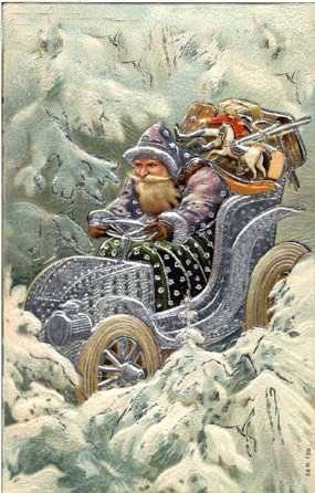 Santa in his car