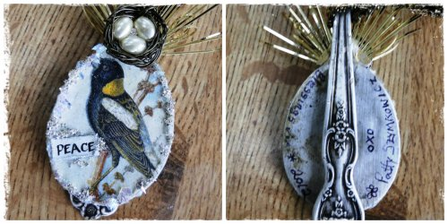 Magpies Nest Altered Spoon Ornament