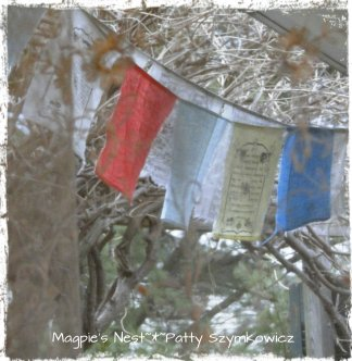 Tibetan Prayer Flags thru the curtain