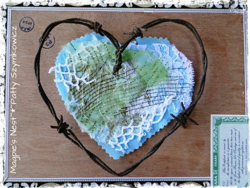 Fabric Stitched Heart Ian's Barbwire Heart