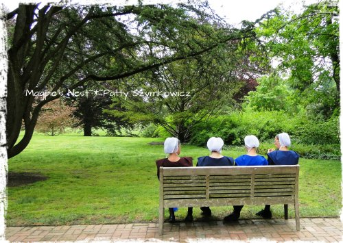 Amish or Mennonite Ladies taking a lunch break at Longwood