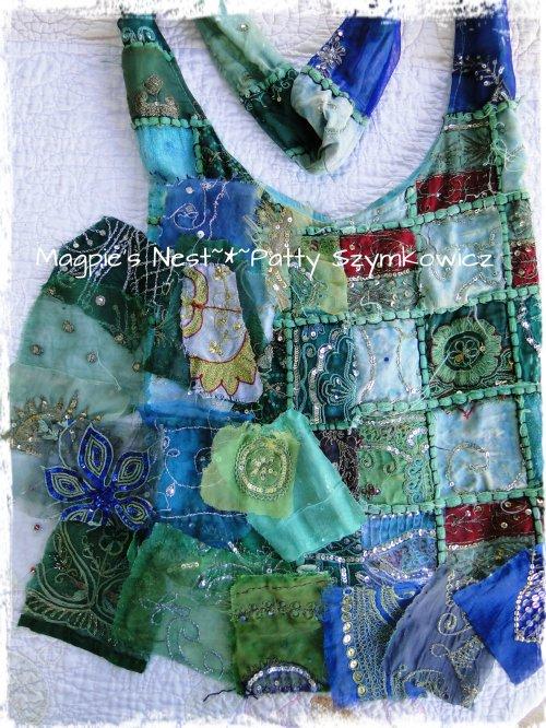 Sari fabric purse parts