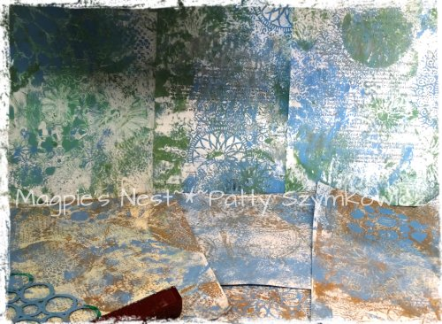 Monoprints from round gelli plate