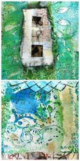 Doodle Details on gelli print pages