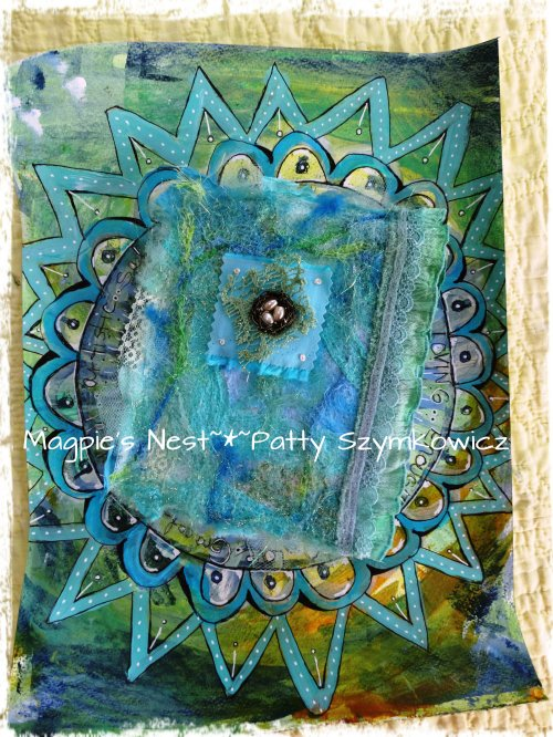 mandala background with felted book cover