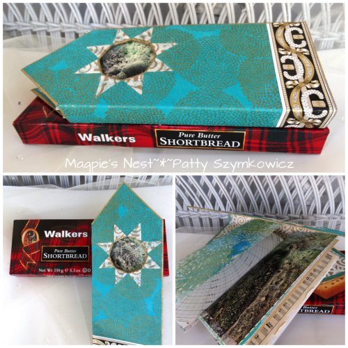 altered shortbread box book