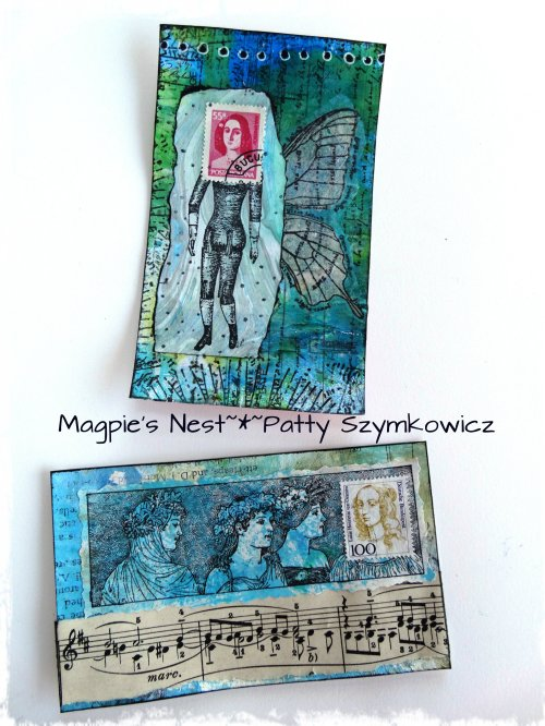 Index card Postage Stamp art