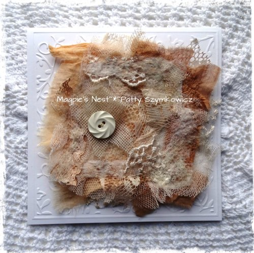 tea dye needlefelted greeting card