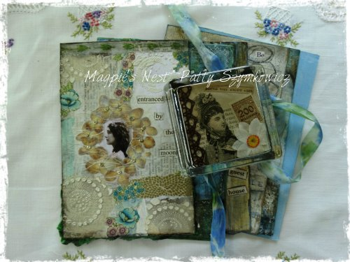 art journal page and collaged paperweight