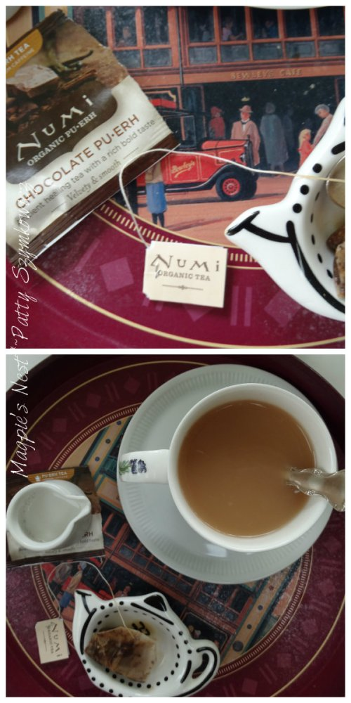 Bewley's T tray and Numi Chocolate Pu erh Tea