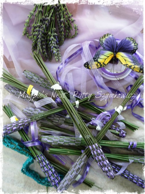Lavender wands drying before finishing