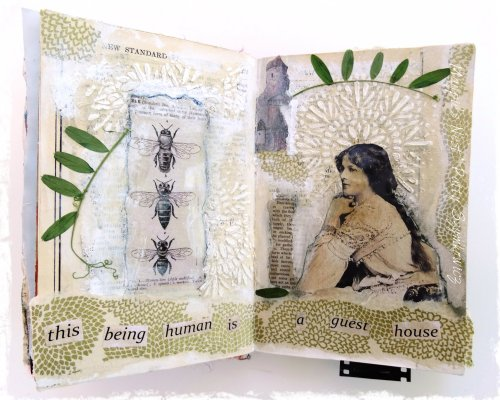 Rumi inspired A guest house art journal pages