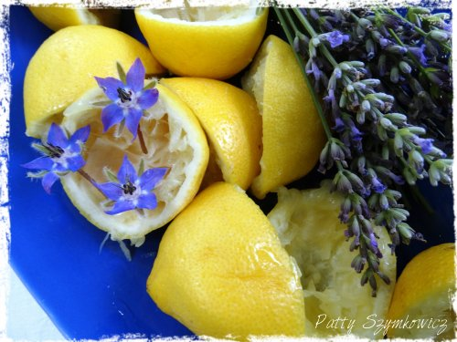 Borage blossoms lemons and lavender