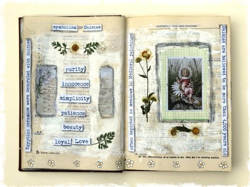 Magpie's Nest Daisies Art Journal Pages (2)
