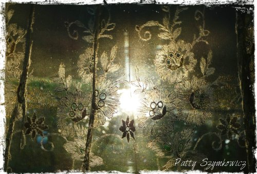 Magpie's Nest Sunrise thru German Lace Curtain