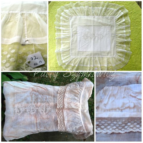 Magpie's Nest before and after handstitched pillow case