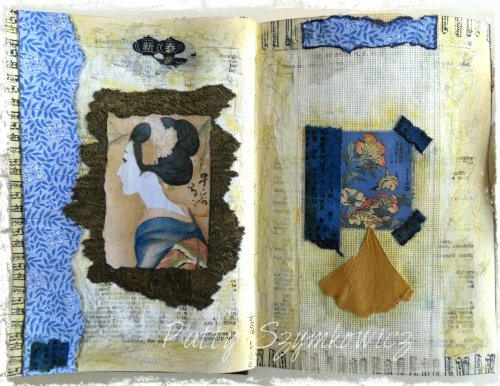 Magpie's Nest Ginkgo art journal pages