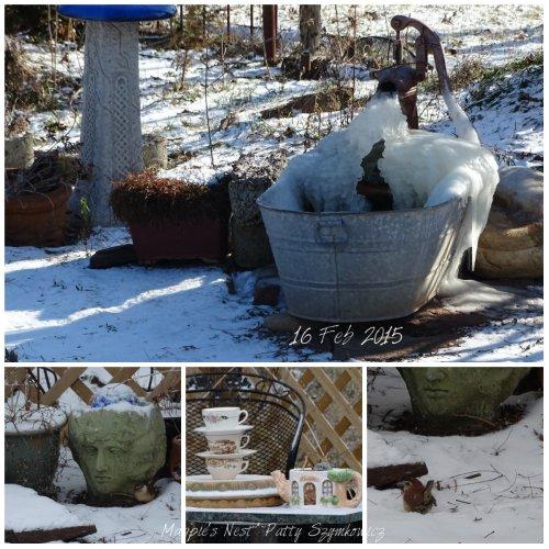 Frozen bird spa before snow