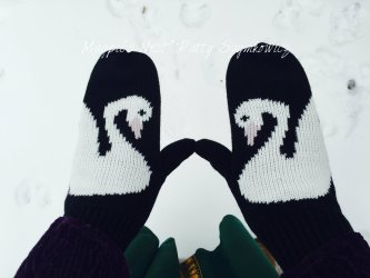 swan mittens from Margaret