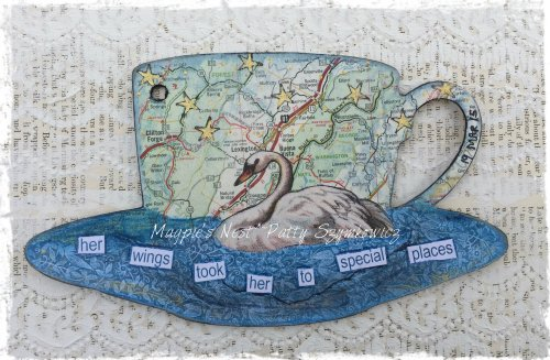Magpie's Nest Patty Szymkowicz tea cup art journal