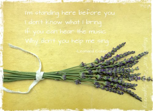 Patty Szymkowicz lavender on book Cohen quote