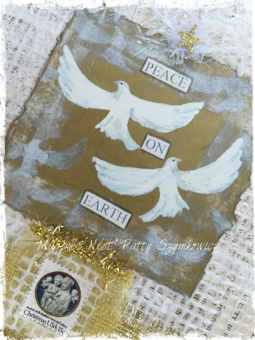 Magpie's Nest Peace on Earth stamp closeup