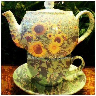 Magpie's Nest Sunflower Field Tea pot and cup