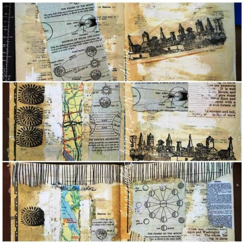 Magpie's Nest Patty Szymkowicz beginning collage pages