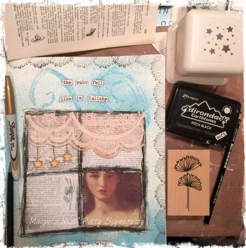Magpie's Nest Patty Szymkowicz Rain Lullaby pages in the making