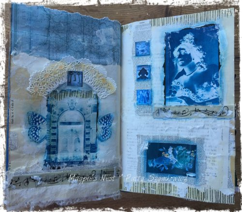 Magpie's Nest Patty Szymkowicz BLUE Art Journal Pages