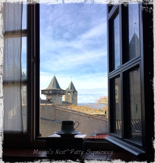 Magpie's Nest Patty Szymkowicz Carcassonne Traveling Tea Cup with a view