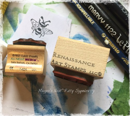 Magpie's Nest bee rubber stamps